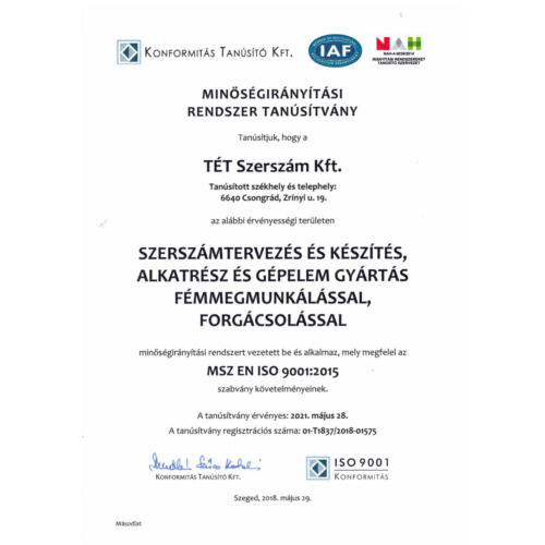 ISO minőségi tanúsítvány